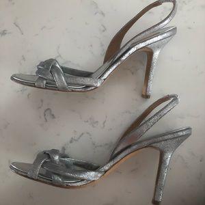 BCBG Max Azria Silver Metallic Slingback Heels